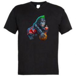 Мужская футболка  с V-образным вырезом Gorilla and basketball ball