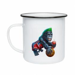 Кружка эмалированная Gorilla and basketball ball