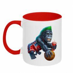 Кружка двухцветная 320ml Gorilla and basketball ball