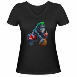 Женская футболка с V-образным вырезом Gorilla and basketball ball