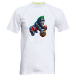 Мужская спортивная футболка Gorilla and basketball ball