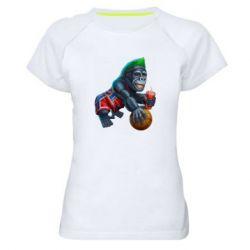 Женская спортивная футболка Gorilla and basketball ball