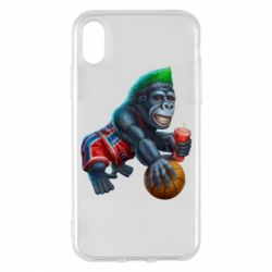 Чохол для iPhone X/Xs Gorilla and basketball ball