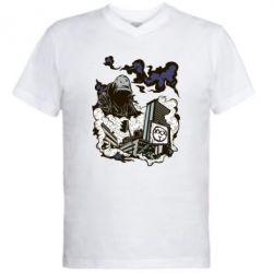 Мужская футболка  с V-образным вырезом Город под подошвой - FatLine