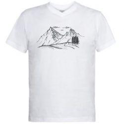 Мужская футболка  с V-образным вырезом Горные красоты