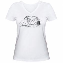 Женская футболка с V-образным вырезом Горные красоты