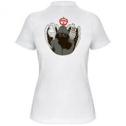Женская футболка поло Говорун на левом плече, гамаюн на правом - FatLine