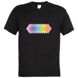 Мужская футболка  с V-образным вырезом Gradient color transition rhombus