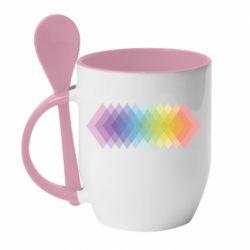 Кружка с керамической ложкой Gradient color transition rhombus
