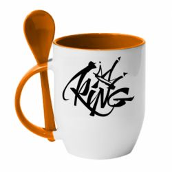 Кружка с керамической ложкой Graffiti king