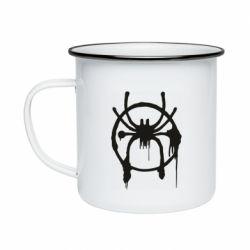 Кружка емальована Graffiti Spider Man Logo