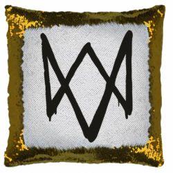 Подушка-хамелеон Graffiti Watch Dogs logo