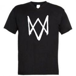 Мужская футболка  с V-образным вырезом Graffiti Watch Dogs logo
