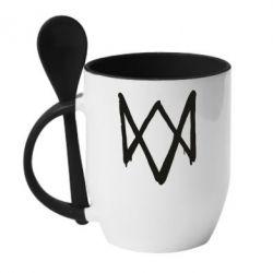 Кружка с керамической ложкой Graffiti Watch Dogs logo
