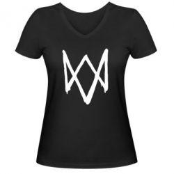 Женская футболка с V-образным вырезом Graffiti Watch Dogs logo