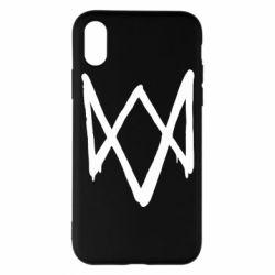 Чехол для iPhone X/Xs Graffiti Watch Dogs logo