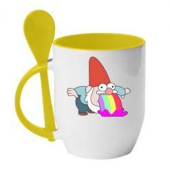Кружка з керамічною ложкою Gravity Falls, dwarf and rainbow