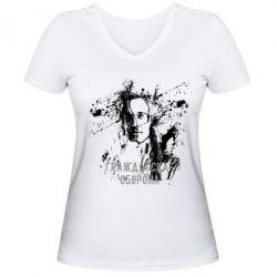 Купить Женская футболка с V-образным вырезом Гражданская оборона, FatLine