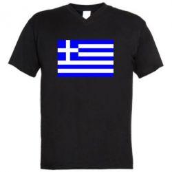 Мужская футболка  с V-образным вырезом Греция - FatLine
