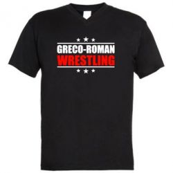 Мужская футболка  с V-образным вырезом Greco-Roman Wrestling - FatLine