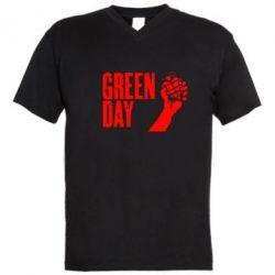 Мужская футболка  с V-образным вырезом Green Day American Idiot - FatLine