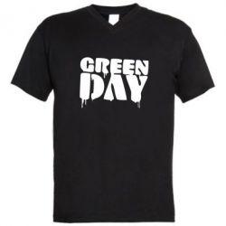 Мужская футболка  с V-образным вырезом Green Day - FatLine