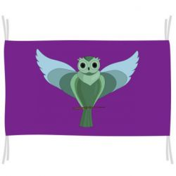 Прапор Green graphic owl on a branch