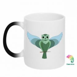 Кружка-хамелеон Green graphic owl on a branch