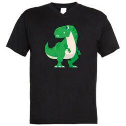 Чоловіча футболка з V-подібним вирізом Green little dinosaur