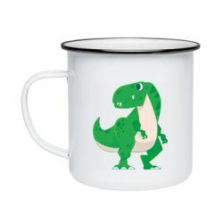 Кружка емальована Green little dinosaur