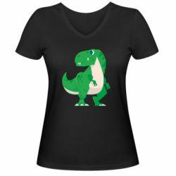 Жіноча футболка з V-подібним вирізом Green little dinosaur