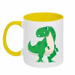 Кружка двоколірна 320ml Green little dinosaur
