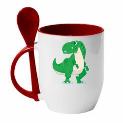 Кружка з керамічною ложкою Green little dinosaur