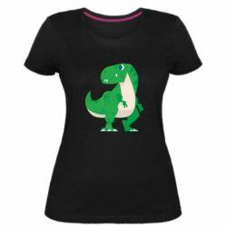 Жіноча стрейчева футболка Green little dinosaur