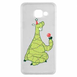 Чехол для Samsung A3 2016 Green llama with a garland