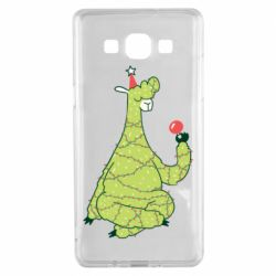 Чехол для Samsung A5 2015 Green llama with a garland