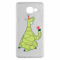 Чехол для Samsung A5 2016 Green llama with a garland