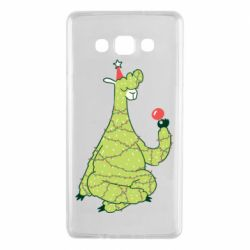 Чехол для Samsung A7 2015 Green llama with a garland