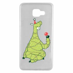 Чехол для Samsung A7 2016 Green llama with a garland