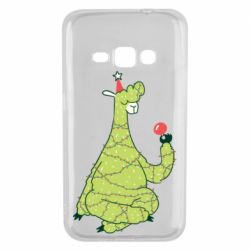 Чехол для Samsung J1 2016 Green llama with a garland