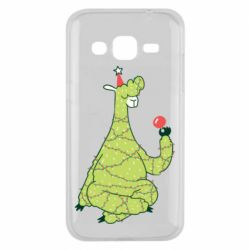Чехол для Samsung J2 2015 Green llama with a garland