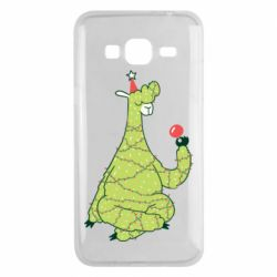 Чехол для Samsung J3 2016 Green llama with a garland