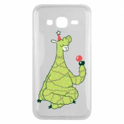 Чехол для Samsung J5 2015 Green llama with a garland