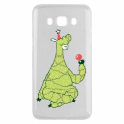 Чехол для Samsung J5 2016 Green llama with a garland