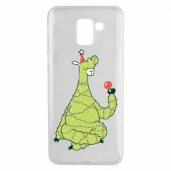 Чехол для Samsung J6 Green llama with a garland