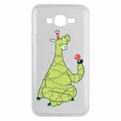 Чехол для Samsung J7 2015 Green llama with a garland