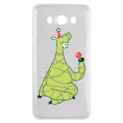 Чехол для Samsung J7 2016 Green llama with a garland