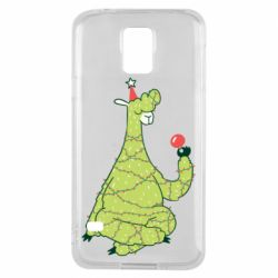 Чехол для Samsung S5 Green llama with a garland