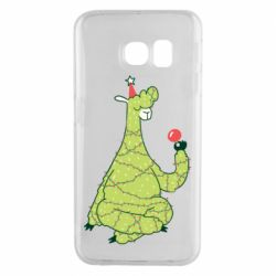 Чехол для Samsung S6 EDGE Green llama with a garland