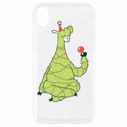 Чехол для iPhone XR Green llama with a garland